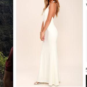Lace Halter wedding dress/ prom dress/ white gound